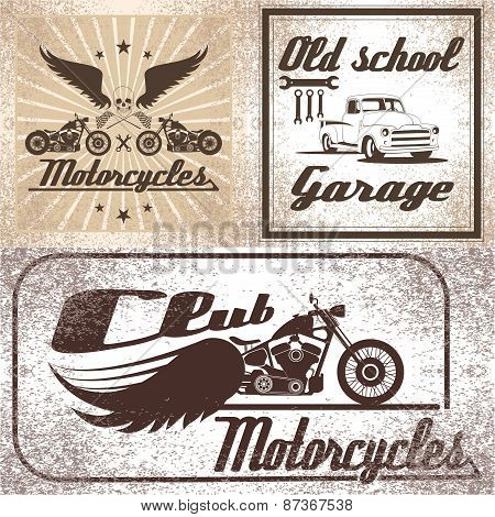 set motorcycles and auto emblem
