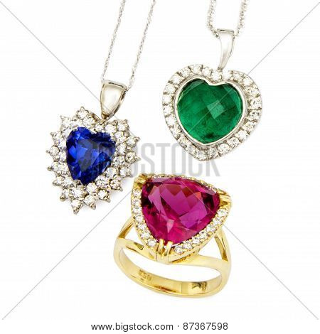 Combination of Colourful Designer Jewellery, Isolated on White Background