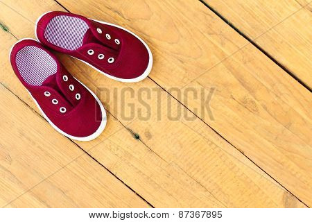Shoes On Wooden Background