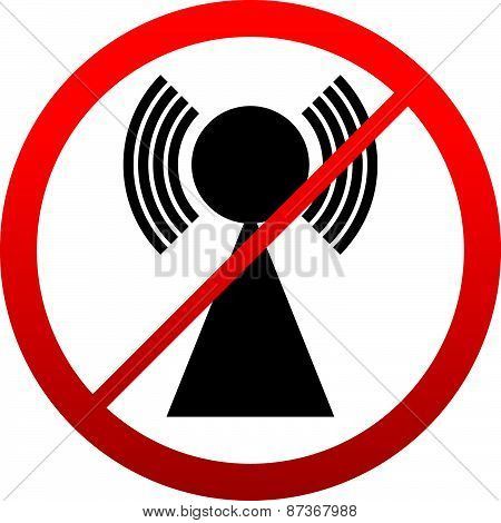 No Signal Sign. Bad Antenna, No Internet Connection Concepts. Jamming, Interference Icon.