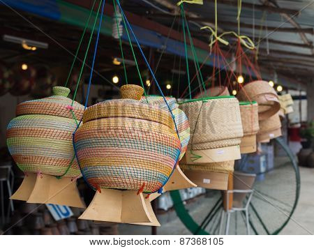 thai basketwork(sticky box) made from bamboo