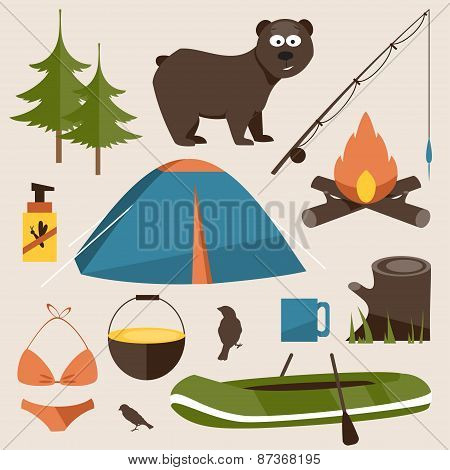 Camping Set. Flat Vector Illustration