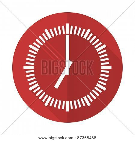 time red flat icon clock sign
