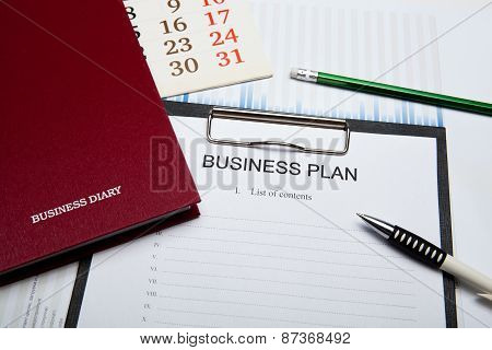 Business Still Life With Business Plan