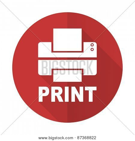 printer red flat icon print sign