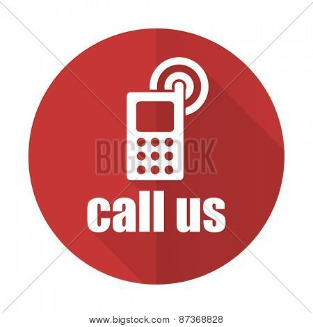 call us red flat icon phone sign