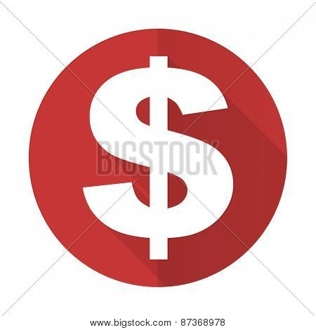 dollar red flat icon us dollar sign