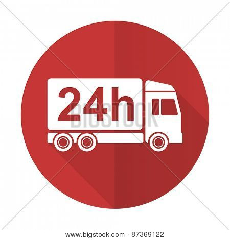 delivery red flat icon 24h shipping sign
