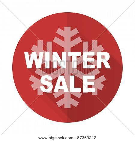 winter sale red flat icon
