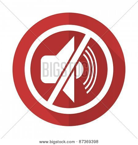 mute red flat icon silence sign