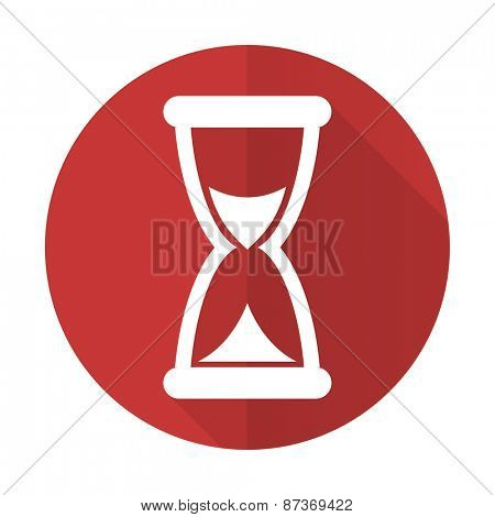 time red flat icon hourglass sign