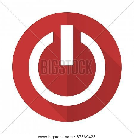power red flat icon on off sign