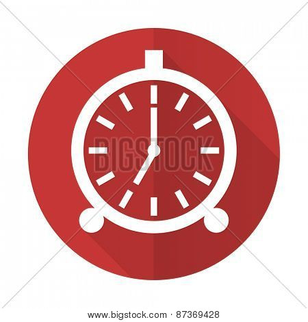 alarm red flat icon alarm clock sign