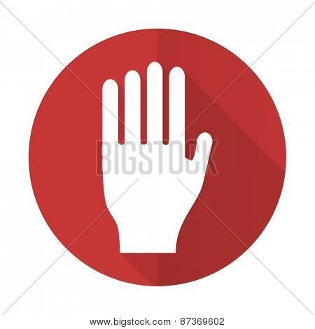 stop red flat icon hand sign