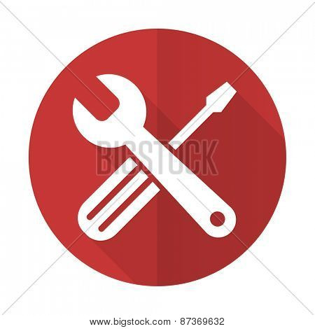tools red flat icon service sign