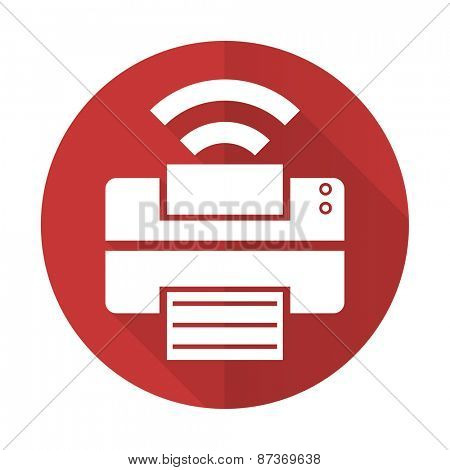 printer red flat icon wireless print sign
