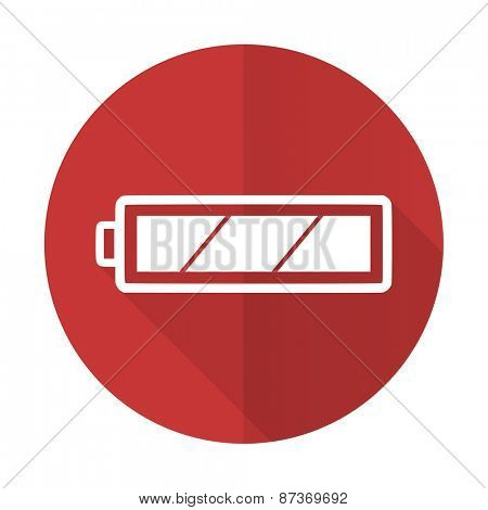 battery red flat icon charging symbol power sign
