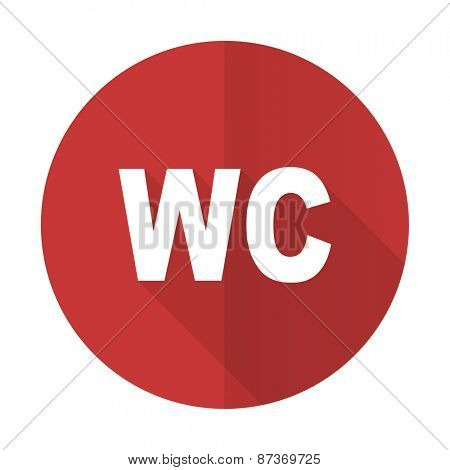toilet red flat icon wc sign