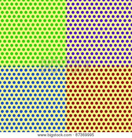 Set Of Seamlessly Repeatable Dotted, Polka Dot Backgrounds, Patterns.
