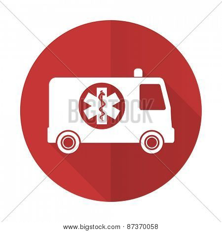 ambulance red flat icon