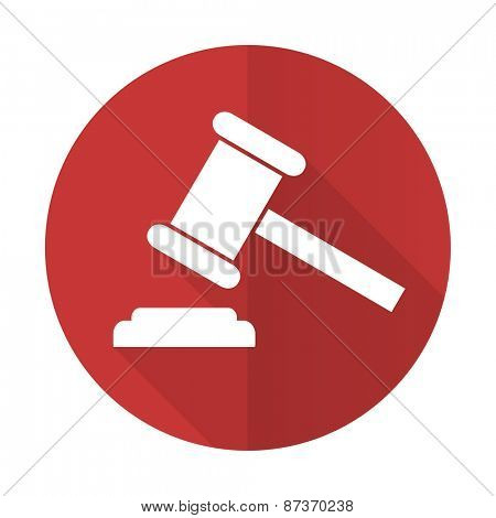 auction red flat icon court sign verdict symbol