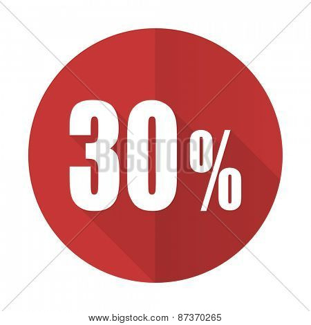 30 percent red flat icon sale sign