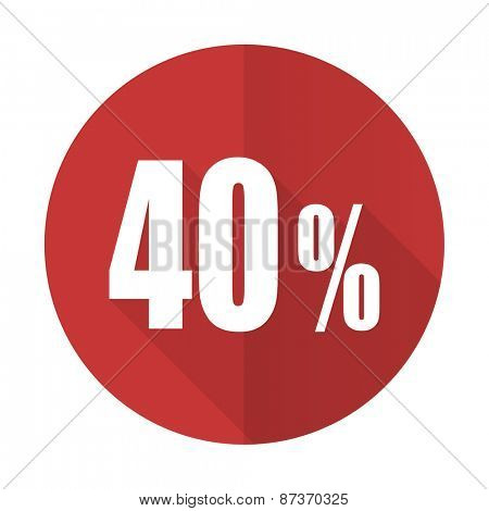 40 percent red flat icon sale sign