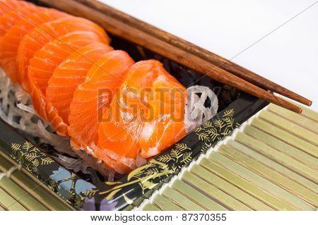 Salmon sashimi on white background