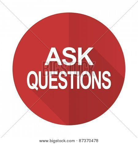 ask questions red flat icon