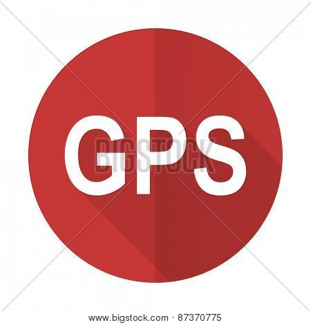 gps red flat icon