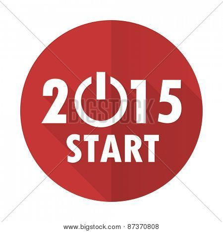 new year 2015 red flat icon new years symbol