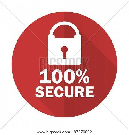 secure red flat icon