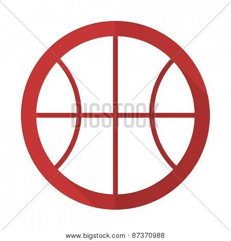 ball red flat icon basketball sign