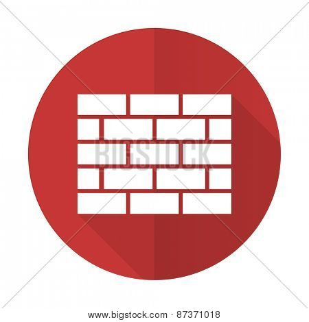 firewall red flat icon brick wall sign