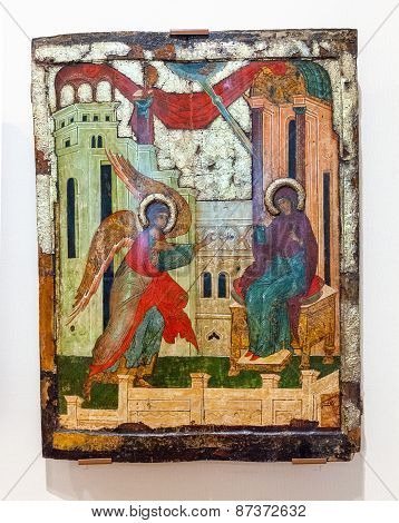 Antique Russian Orthodox Icon Painted On Wooden Board