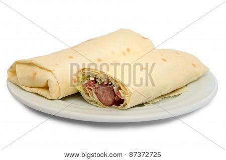 Pita Bread Roll With Sausage