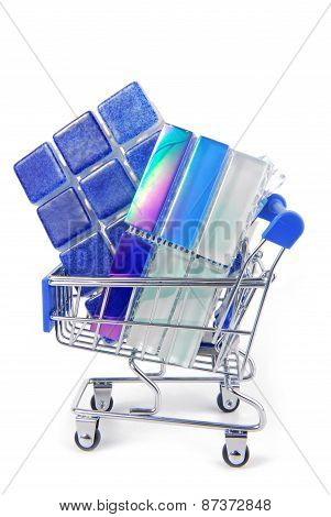 shopping trolley with ceramic tiles