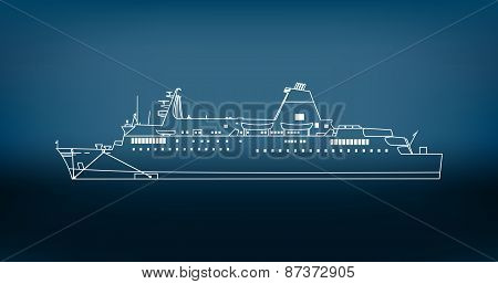 Ship On Blurred Background