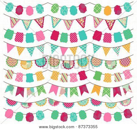 Collection of Bright and Colorful Wedding, Holiday, Birthday or Party Bunting