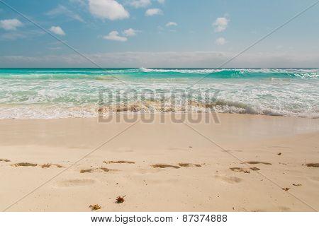 Ocean Waves, Footsteps On White Sand Beach, Caribbean Sea