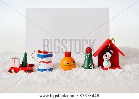Christmas Card With  Christmas Tree, House, Sweets