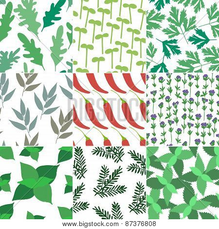 Set of 9 seamless hand drawn patterns