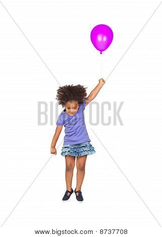 Adorable African Little Girl Flying With A Purple Balloon
