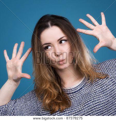 Emotional Girl Gesturing