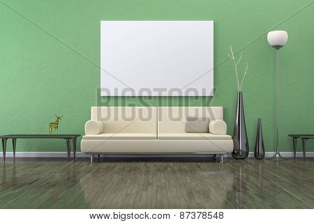 A green room with a sofa and background for your own content