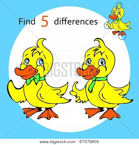 Find five differences duck