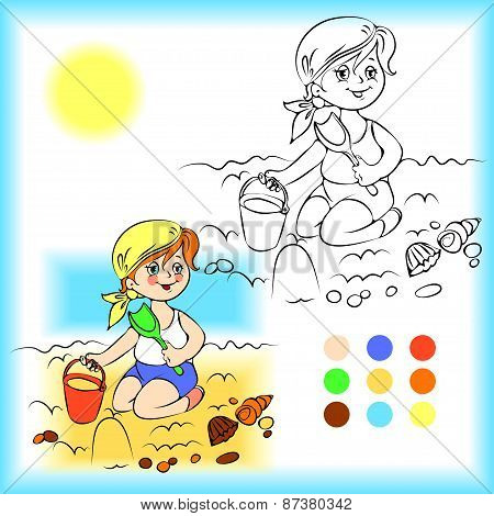 Baby on the sand coloring book