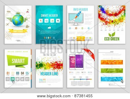 Set of Flyer, Brochure, Background, Infograph, Banner Designs. Vector Poster Templates. Paint Splashes Abstract Background for Business Card