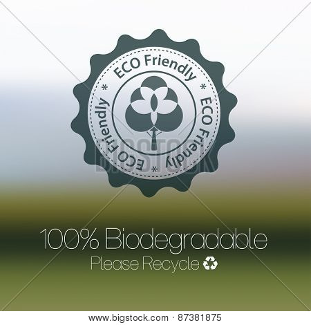Eco friendly design against blurred background.