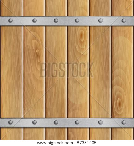 Wooden background with metal crossbar